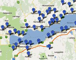 Balatoni szállások a Balaton térképén